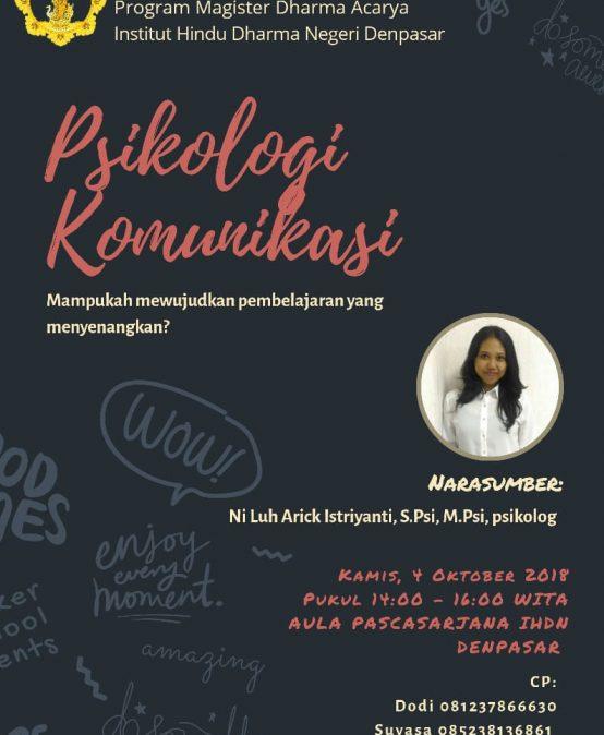Diskusi Kamisan Pascasarjana Mengenai Psikologi Komunikasi