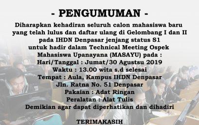 PENGUMUMAN OSPEK MAHASISWA UPANAYANA (MASAYU ) TAHUN 2019